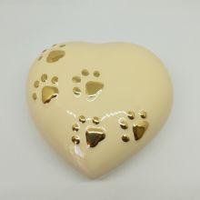 Urna cuore avorio in ceramica